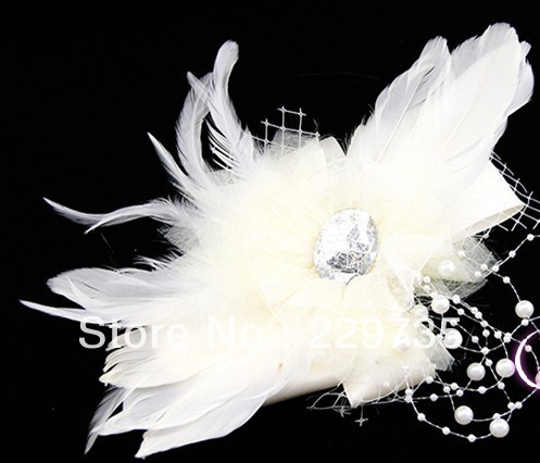 Fashion hair accessory fashion hair accessory feather flower ballet hair accessory the bride hair pin crystal epaulette(China (Mainland))