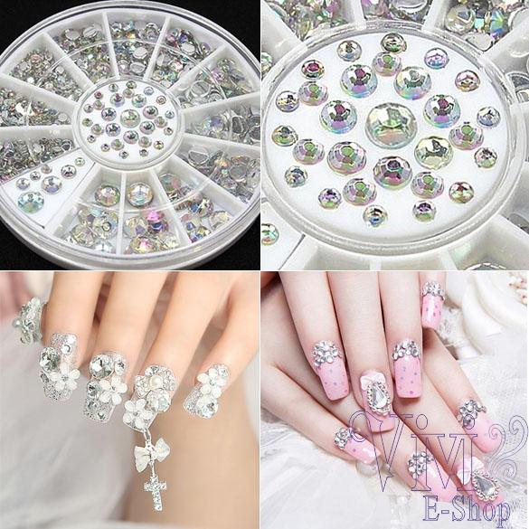 Hot Selling 300pcs 4 Sizes Stylish 3D Nail Art Decorations DIY Tools Beauty Crystal Glitter Nails Rhinestones Tips Wheel ZYQ(China (Mainland))