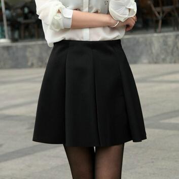 Женщины симпатичные конфеты цвета плиссированные юбки старинные эластичный пояс мини-юбки ...