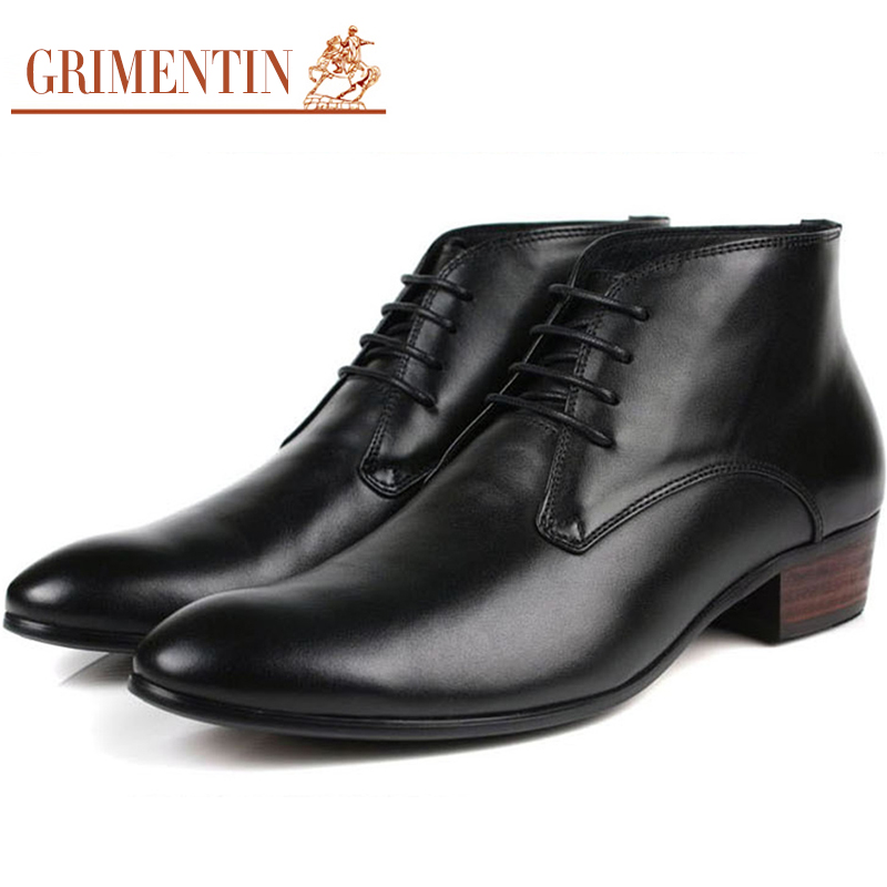GRIMENTIN fashion high top luxury black mens boots genuine leather casual men shoes Italian design autumn business boot zb110(China (Mainland))