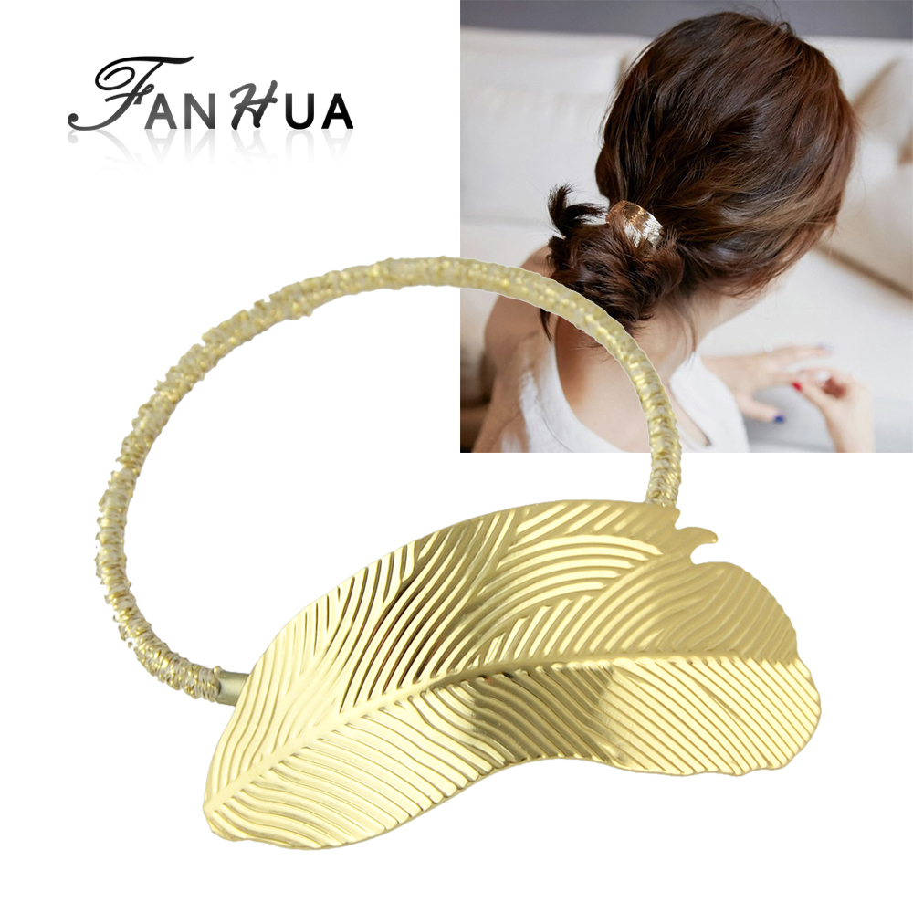 New Arrival Fashion Plaits Hair Accessories Elastic Rope Hair Bands Gold Silver Color Leaf Headwear Accessories Women(China (Mainland))