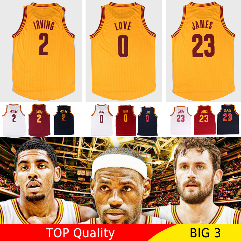 Top Quality Mens 2015 Cleveland Basketball Jersey LeBron James 23# Kyrie Irving 2# Kevin Love 0# Throwback Jerseys Camisetas(China (Mainland))