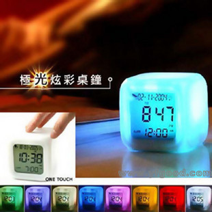 Colorful color mood clock Fashion mute Lazy people 7 colour clock The perpetual calendar gift(China (Mainland))