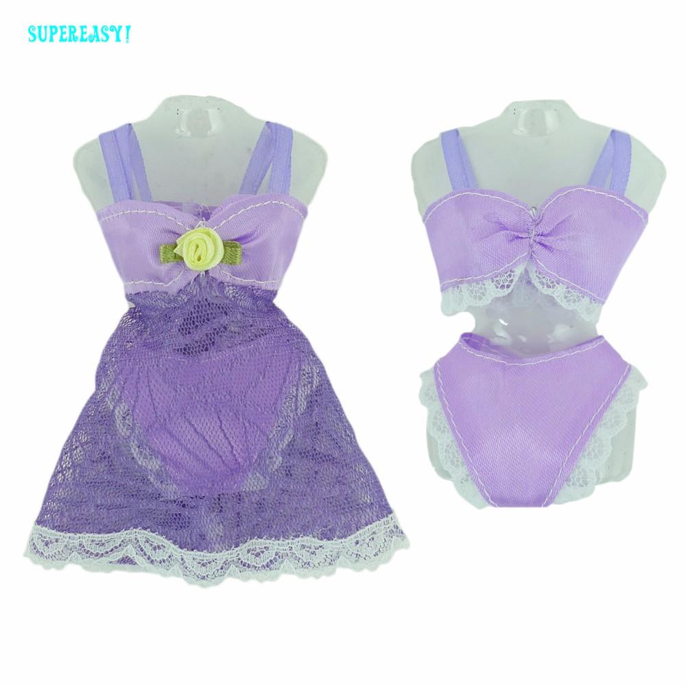 Free delivery  Purple Horny Pajamas Lingerie Nightwear Lace Evening Costume + Bra + Underwear Garments For Barbie Doll Skirt Garments
