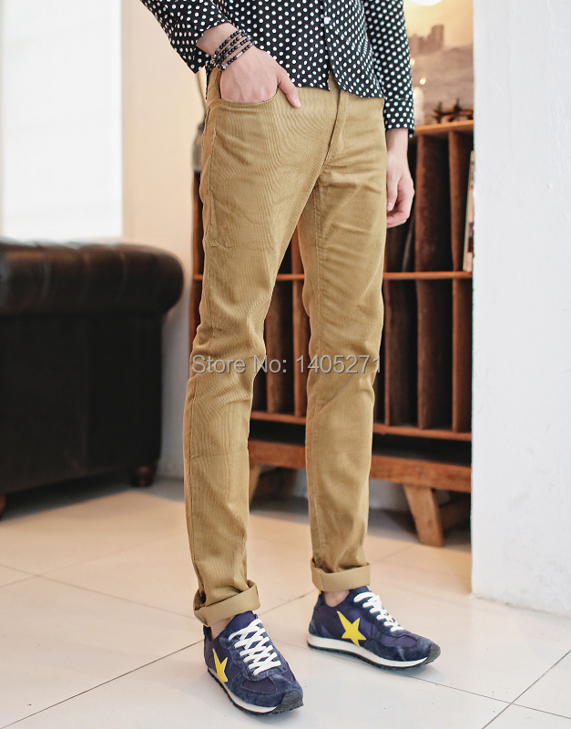 free shopping 2014 fall new Korean Fashion Slim Men's long pants corduroy slacks necessary influx of men 's trousers(China (Mainland))