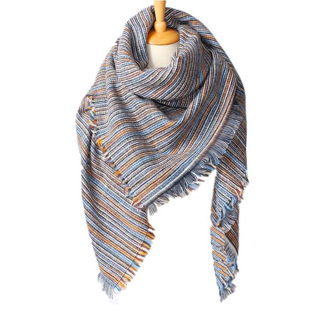 2016 новое поступление зима мода женские джинсы синего бренд-а дизайн полосатый цветовой гаммы кисти площадь толщиной кашемир шарф 140 * 140 см