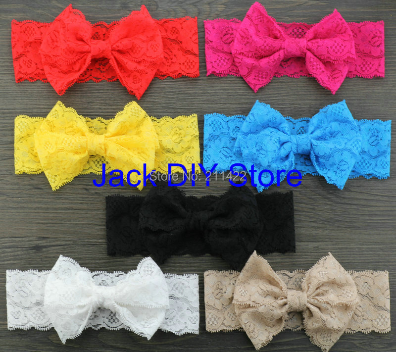 """Free ePacket/CPAP shipping 35pcs/lot 5"""" Lace Bow Headwrap Elastic Headbands, Hair Accessories, Hair lace Bows(China (Mainland))"""