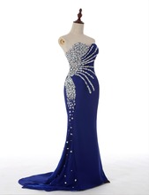 Abendkleid 2015 New Fashion Real Sample Sweetheart Mermaid Royal Blue Satin Long Evening Dress Rhinestone Prom Dresses(China (Mainland))