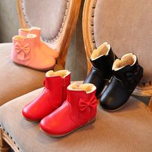 Детская Обувь Девушки Сапоги Новых Осень Зима Твердые Мода Молнии Обувь для Девочек большой Лук Мягкая Девушка Мартин Сапоги Размер 21-30(China (Mainland))