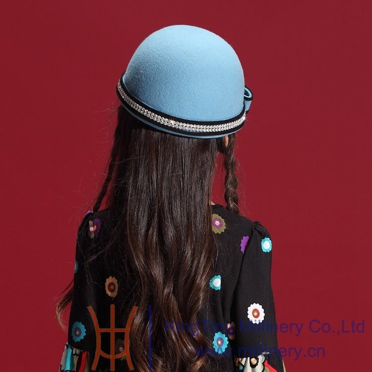 Скидки на Маленькая девочка шляпы зима 100% шерсть дети театрализованное бант волос аксессуары игристое горный хрусталь дети девочка ну вечеринку шапки
