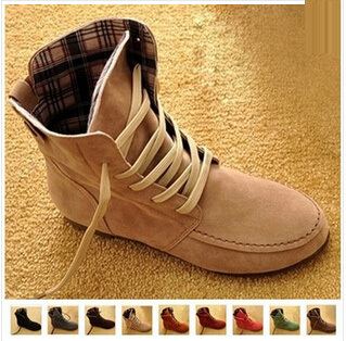 Plus Size 34-43 Autumn and winter women boots wild flat leisure women snow boots Martin boots leather ankle flats shoes45(China (Mainland))
