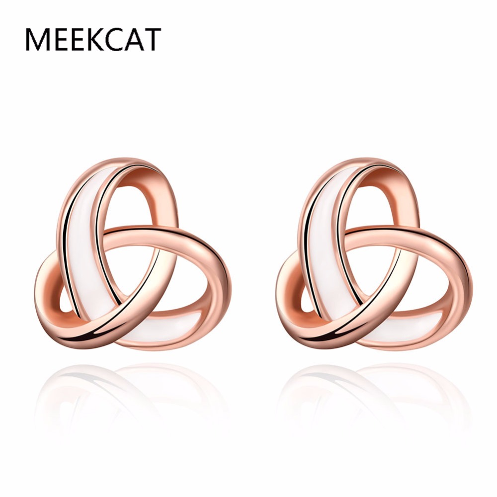 MEEKCAT Fashion Jewelry Rose Gold Color Knot Stud Earrings for Woman Small Earrings Boucle d'oreille(China (Mainland))