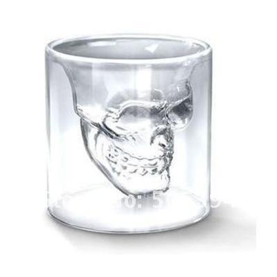 Free shipping Doomed Crystal Skull Shot Glass/Crystal Skull Head Vodka Shot Wine Glass Novelty Cup#8749(China (Mainland))