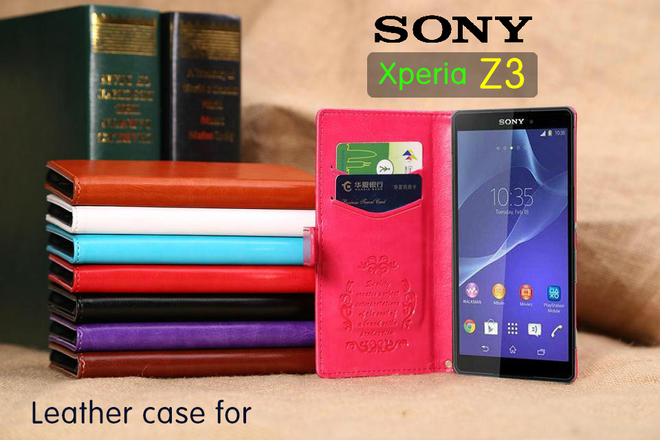 for Sony Xperia Z3 Compact case cover,New 2015 fashion luxury flip leather wallet stand phone case cover cell free shipping(China (Mainland))