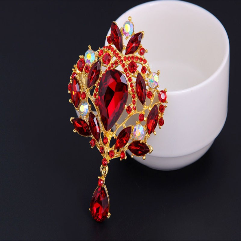 Brooch Fashion Jewelry Water Drop Multicolor Crystal Alloy Glass Rhinestone Inlay Brooches For Women Scarf Hair Collar Pins