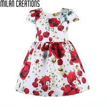 Milan Creations Baby Girl Dresses Kids Clothes 2016 Brand Children Costumes for Girls Princess Dress Floral Pattern Girls Dress(China (Mainland))