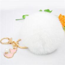 Pom Pom Faux Pele De Coelho Keychain Bonito Pérola Rosa Gato Chaveiro Trinket Chaveiro para As Mulheres Pompom Fofo Saco Menina encantos Llaveros(China)