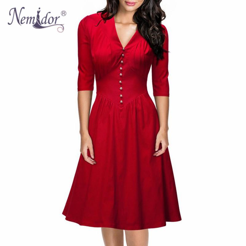 Nemidor Women Plus Size 2XL A line Dresses Casual 3/4 ...