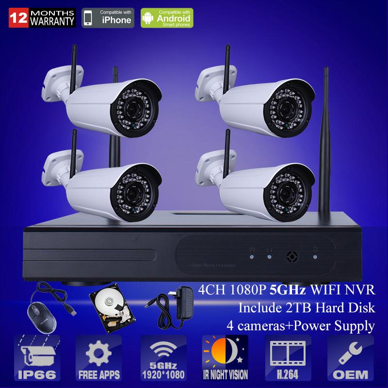 2TB HDD 4CH NVR Wireless CCTV Kit 2.0Megapixels HD Outdoor Wterproof IR WIFI 1080P HD IP Camera Security Surveillance System(China (Mainland))