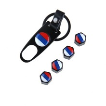 Russian National Flag Cars Stainless Steel Black Car Wheel Airtight Tyre Tire Stem Air Valve Caps with Keychain Fit for Toyota(China (Mainland))