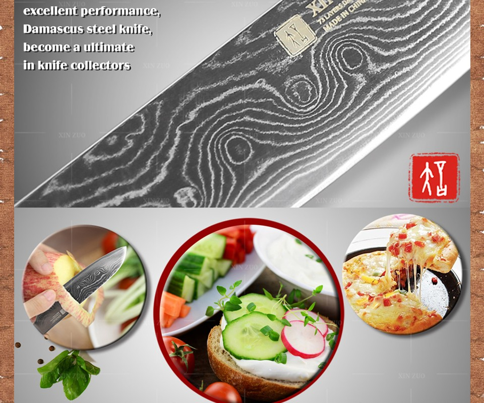 "Buy 5"" inch Japan chef knife 73 layers Japan Damascus kitchen knife sharp meat santoku knife with Color wood handle free shipping cheap"