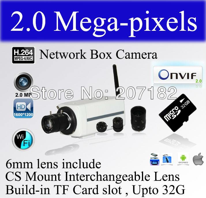 "AM-W722-WIFI, 2.0 Megapixel 1/4"" CMOS Sensor, 4/6/8mm Fixed Len,WIFI 802.11b/g/n , TF2.0 standard Wireless Network IP Box Camera(China (Mainland))"