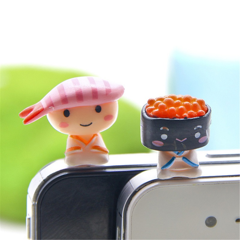 2PCs/set Japanese sushi doll cute Moblie Phone Parts Cell Phone DIY Dust Plug Earphone Jack Plug pvc decoration Doll(China (Mainland))