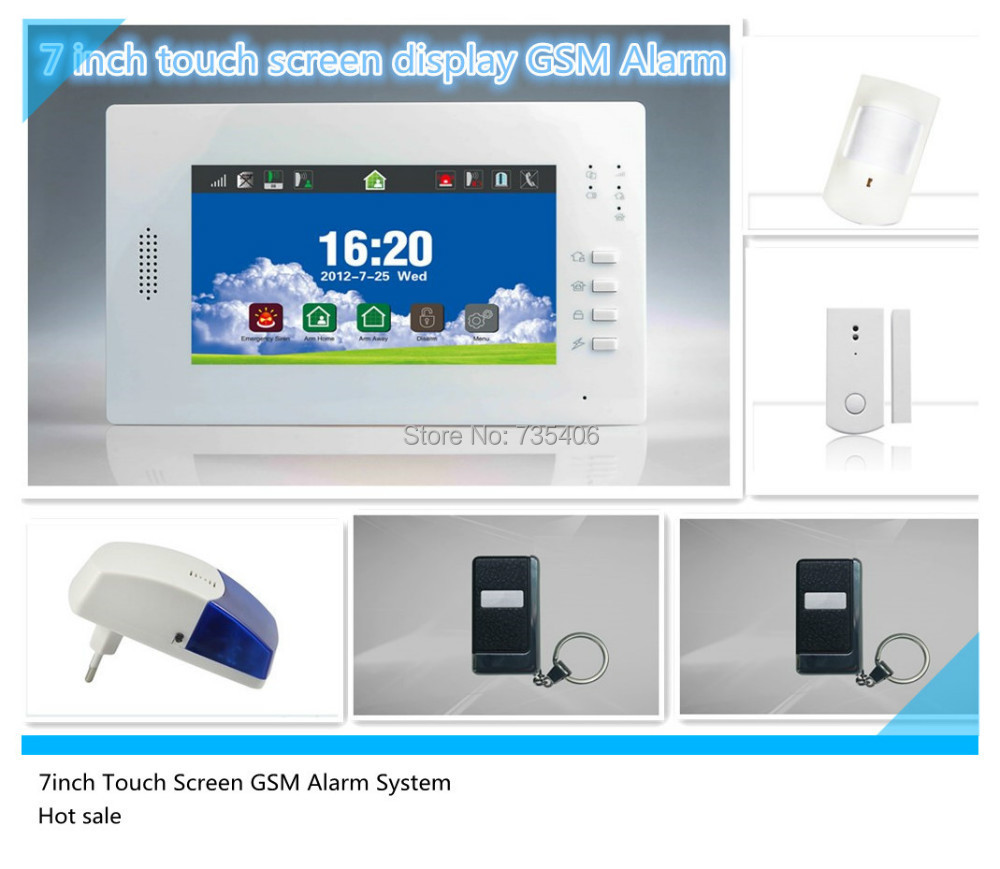 Free shipping 7inch Color Screen Wireless Burglar GSM Alarm System for home security protection(China (Mainland))