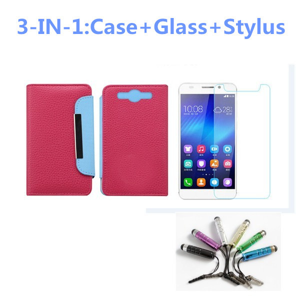 Universal Wallet Flip PU Leather Phone Case Cover+Tempered Glass Screen Protector+Stylus for DEXP Ixion X 4.5/Ixion X LTE 4.5(China (Mainland))