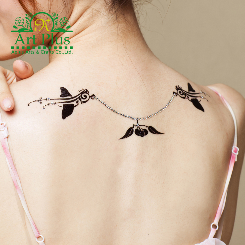 new sale elegant sex products flash tattoo 3D Necklace tattoo flash colorful tattoo+crystal summer style party crystal tattoo(China (Mainland))