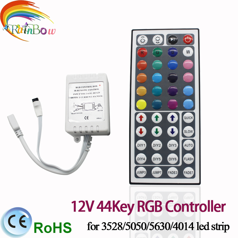 Free shipping 44 Keys LED IR RGB Controler For RGB SMD 3528 5050 LED Strip LED Lights Controller IR Remote Dimmer Input DC12V 6A(China (Mainland))