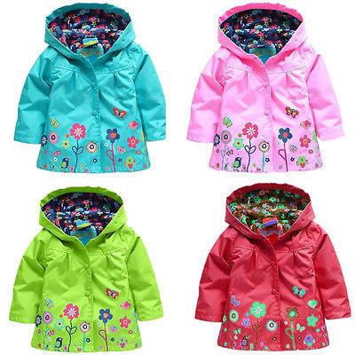 Дети Дети Девушки Новые Цветы С Капюшоном Водонепроницаемый Ветрозащитный Плащ пальто Бесплатная Доставка
