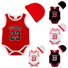 Summer Baby Rompers Cotton Infant Toddler Jumpsuit Short Sleeve Hat 2Pcs Newborn Overall Clothes Baby Boy Basketball Clothing(China (Mainland))