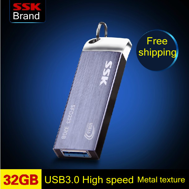 SSK SFD223 USB 3.0 Flash Drive 100% 32GB Pen Drive Metal High Speed Memory Usb Stick Free Shipping(China (Mainland))