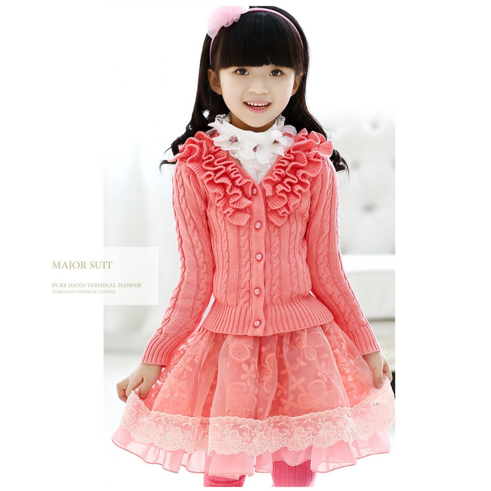 2-16 years new 2016 girls spring warm sweet cute princess 3pcs blouse+lace coat+skirt suits costumes children kids clothing set<br><br>Aliexpress