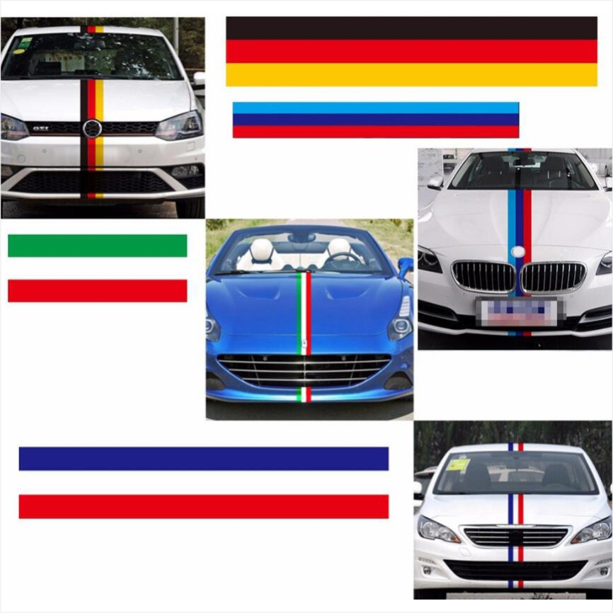 3 Meters/Lot 3 Colors Car Tail Waterproof PVC Sticker Badge Motorcycle Decoration Car Styling German France Italy Flag For BMW(China (Mainland))