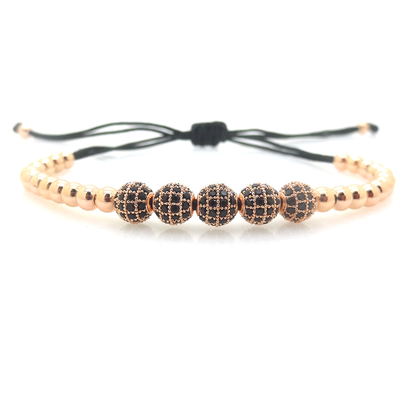 Brand Anil Arjandas Men Bracelets,5Pcs 6mm Pave Setting Black CZ Beads Briading Macrame Bracelet For Men and Women,As Best Gift(China (Mainland))
