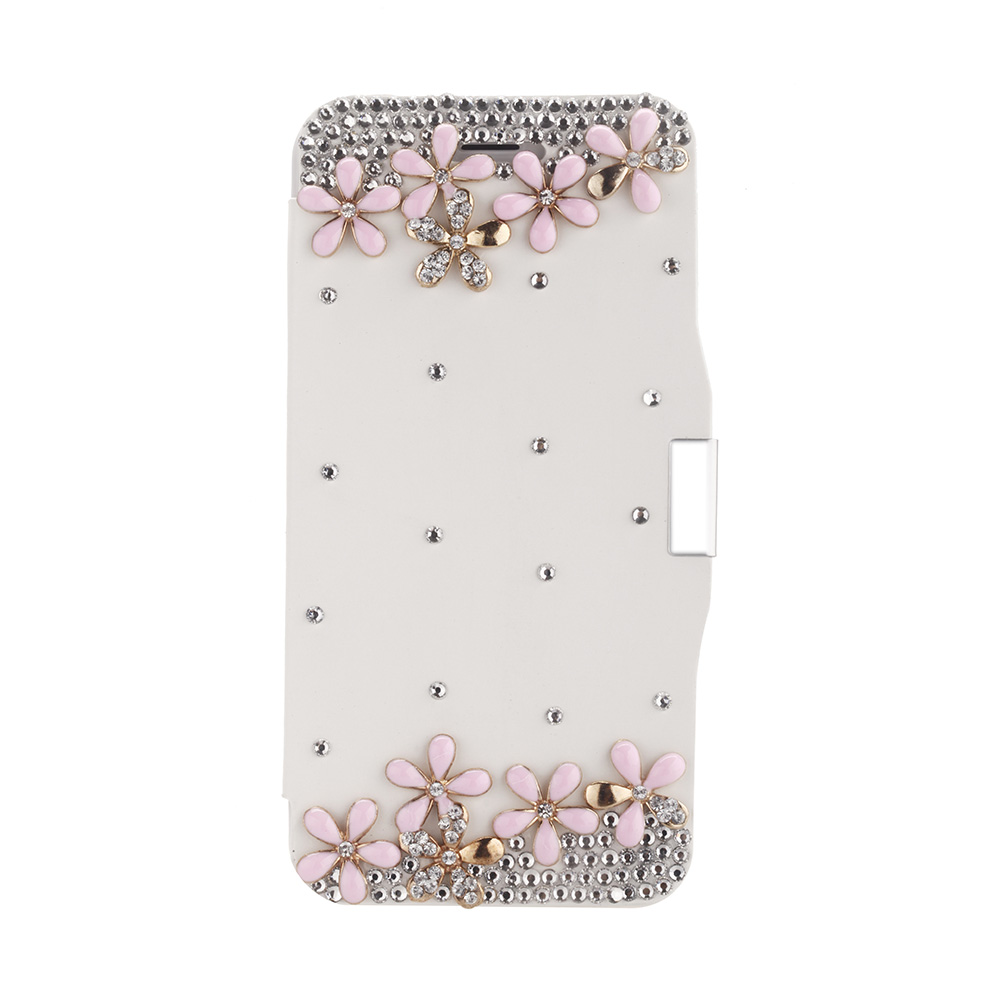 Mobile Phone Bags Cases Magnetic Flip PU Leather Wallet Case Cover Bling Diamond Rhinestone Crystal for iPhone 6 White(China (Mainland))