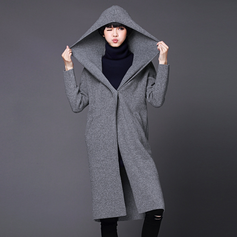 Cardigan women Spring and autumn 2015 long sleeve cardigans hood loose sweater cardigan women's thick long cardigan,Y1023-144D