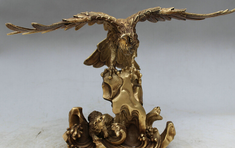 """14"""" Chinese Brass Decoration FengShui Fly Wing Eagle Hawk lanneret Bear Statue S0621(China (Mainland))"""