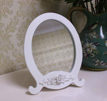 Korean garden furniture with the E home white carved up mirror vanity mirror desk mirror frame mirror white(China (Mainland))