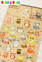 New 1 pcs/set funny owl paper sticker / Mobile Phone Stickers / Wholesale(China (Mainland))