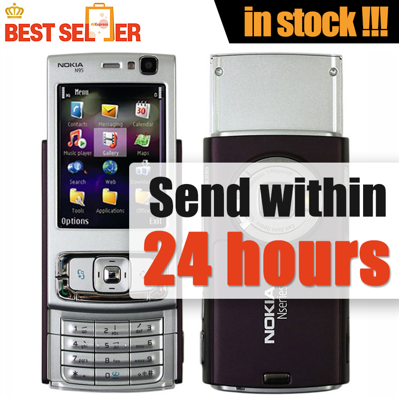 Unlocked N95 8GB Original Phone Nokia N95 GSM 3G WIFI GPS Bluetooth 5MP Camera Cell phones Russian Language Free shipping(China (Mainland))