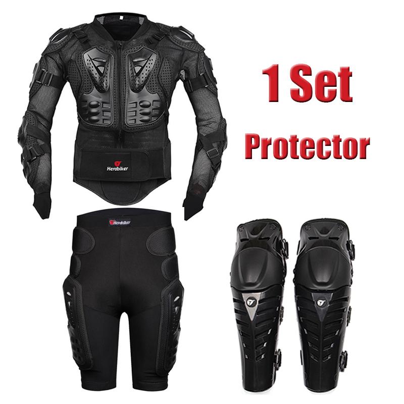 Motorcycle Body Protection Racing Full Body Armor Jacket + Protective Gears Short Pants + Motorbike Knee Pad Protector(China (Mainland))