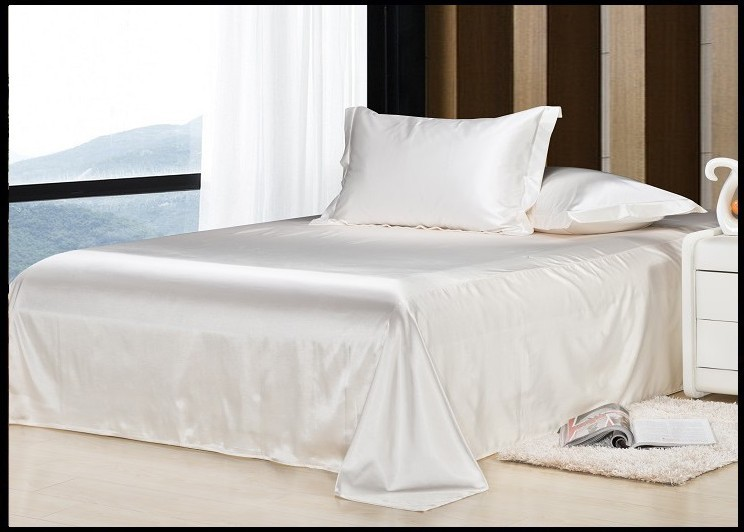 Luxury cream white bedding set silk sheets queen full twin quilt duvet cover king size bed in a bag bedspread linen custom-made(China (Mainland))