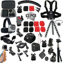 20-en-1 caso Gopro accesorios Conjunto monopie trípode Pulpo bike helmet mount brazo para Go pro hero4 3 sj4000 sjcam sj5000 M10 kit