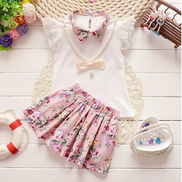 2015 летние девочки рождество наряд комплектов одежды дети ожерелье футболка + юбка ...