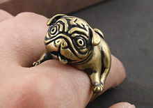 Hot Sael New Animal Ring Anel Fashion Jewelry Bulldog Pug Copper Ring Animal Lover Punk Ring Men Women Gift 2015