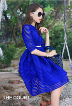 Hot Sale 2015 Women Celebrity autumn Dress Casual Fashion Sexy Slim Stripes Hollow Work Wear Vestidos Plus Size Party Dresses(China (Mainland))