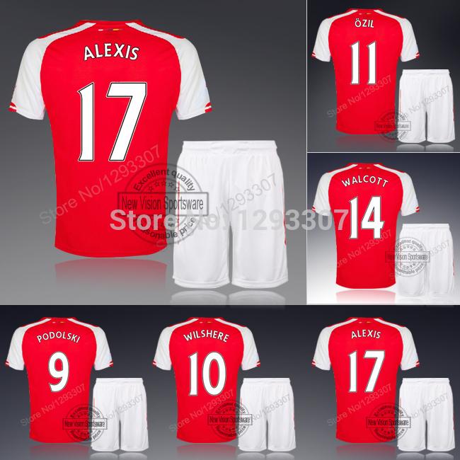 14 15 Embroidery Home Alexis Ozil Wilshere Podolski Welbeck Football Kit Uniform Men Sports Sweatshirt Outfit Soccer Jersey Set(China (Mainland))
